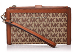Michael Kors Jet Set Double Brown Wristlet Wallet 32T9LFDW4J
