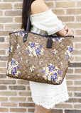 Coach F36658 F32084 Reversible City Tote Signature Khaki Multi Floral - Gaby's Bags