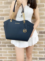 Michael Kors Jet Set Travel Chain Tote Navy Blue Saffiano - Gaby's Bags