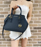 Michael Kors Charlotte Large Top Zip Satchel Admiral Blue MK Signature Logo