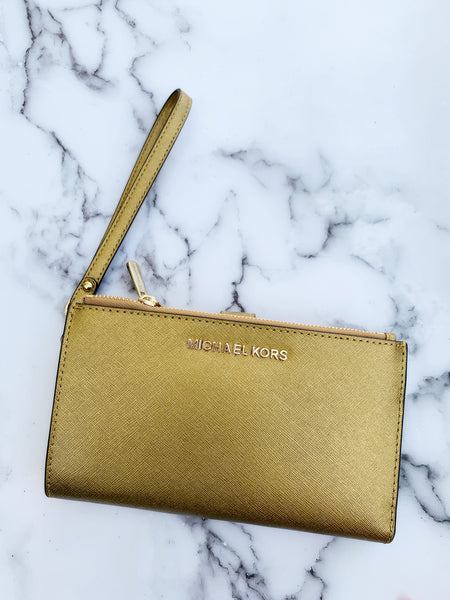 Michael Kors Jet Set Large Double Zip Wristlet Old Gold - Gaby's Bags