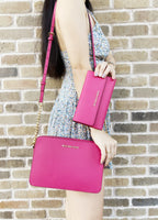 Michael Kors Jet Set Large East West Crossbody Electric Pink + Trifold Wallet - Gaby's Bags