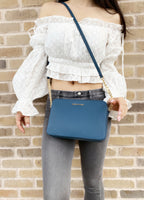 Michael Kors Jet Set East West Large Crossbody Leather Dark Chambray Blue - Gaby's Bags