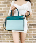 Kate Spade Staci Medium Saffiano Leather Top Zip Satchel Bag Frosted Spearmint