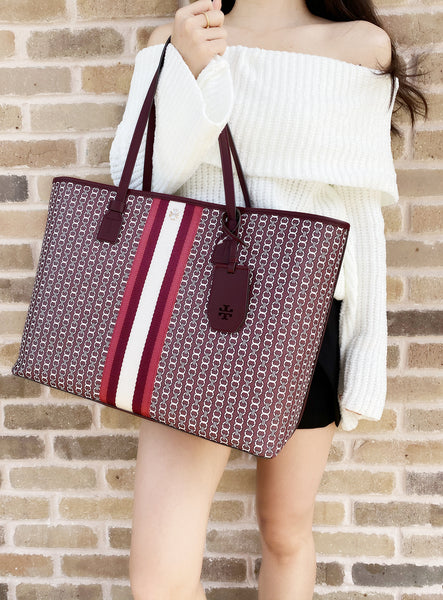 Tory Burch Gemini Link Canvas Large Tote- Royal Burgundy Gemini Link - Gaby's Bags