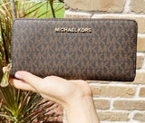 Michael Kors Jet Set Large Continental Zip Around Wallet Monogram Brown MK