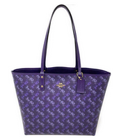 Coach F82134 Reversible Tote Shoulder Bag Horse Carriage Dark Purple Lavender - Gaby's Bags
