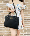 Michael Kors Mott Large Satchel Crossbody Black Leather