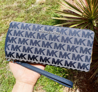 Michael Kors Jet Set Travel Continental Wristlet Wallet Jacquard MK Navy Mukti