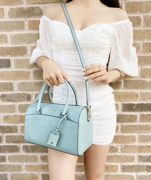 Kate Spade Devyn Medium Satchel Duffle Bag Crossbody Frosted Spearmint Blue