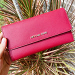 Michael Kors Jet Set Travel Large Trifold Wallet Scarlet Red Saffiano Leather