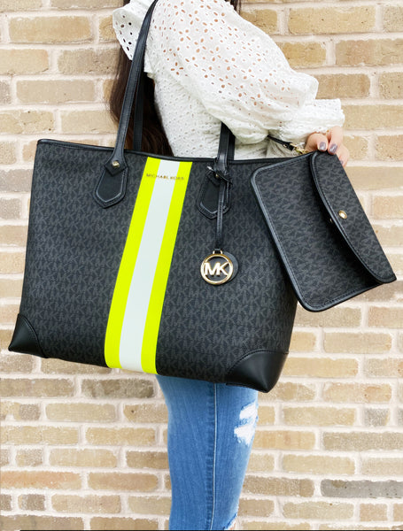 Michael Kors Eva Large Carryall Tote Black MK Center Stripe Neon Yellow Pouch