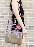 Coach F32203 Mini Bennett Satchel CrossbodyKhaki Signature Jasmine Purple - Gaby's Bags