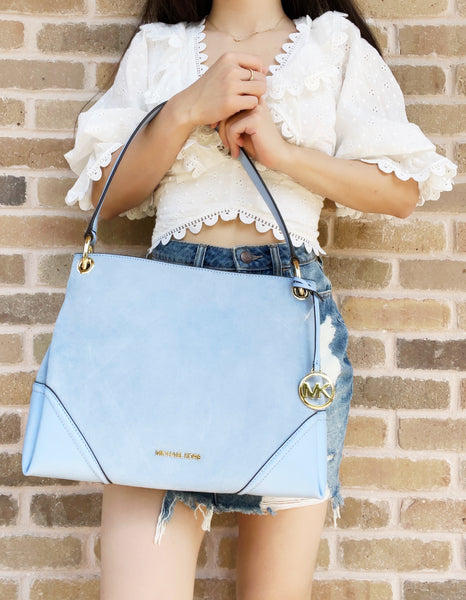 Michael Kors Nicole Medium Suede Leather Shoulder Hobo Handbag Light Sky Blue