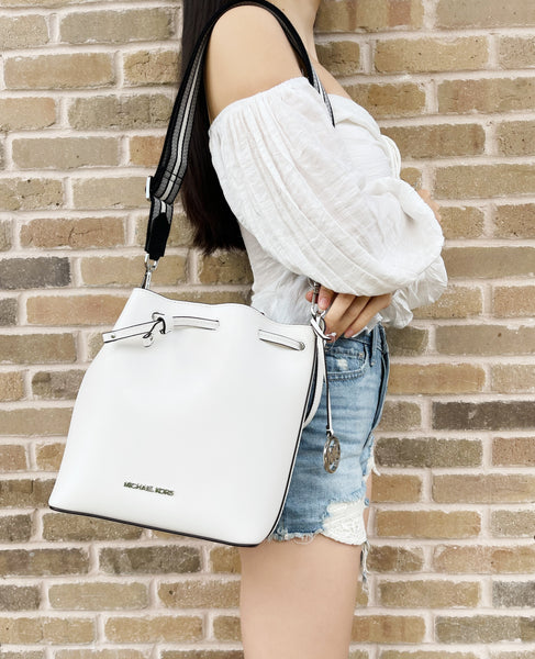 Michael Kors Eden Medium Bucket Bag Shoulder Tote Crossbody Optic White Leather