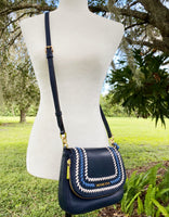 Michael Kors Bedford Small Flap Crossbody Pebbled Leather Bag Navy Tassel