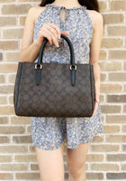 Coach F67026 Surrey Carryall Satchel Brown Black - Gaby's Bags