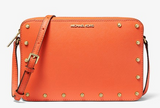 Michael Kors Sandrine Studded Saffiano Leather Crossbody Bag Tangerine Orange