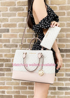 Michael Kors Savannah Large Satchel Crossbody Bag Vanilla MK Ballet Pink - Gaby's Bags