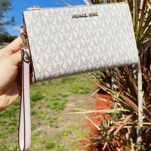 Michael Kors Jet Set Double Zip Phone Wristlet Vanilla Signature MK Powder Blush