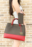Michael Kors Savannah Large Satchel Brown MK Scarlet Red + Bifold Wallet - Gaby's Bags