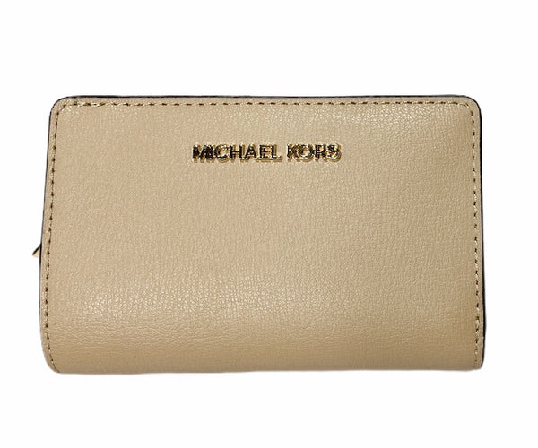 Michael Kors Jet Set Zip Bifold Wallet Coin Case Case Bisque Leather