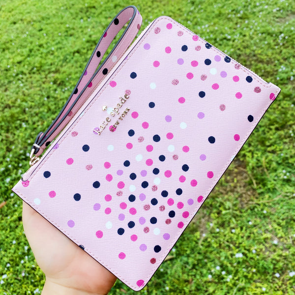 Kate Spade Medium L-Zip Wristlet Wallet Saffiano Leather Confetti Pink Multi Glitter Dot