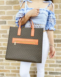 Michael Kors Kenly Large North South Tote Leather Brown MK Signature Tangerine