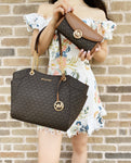 Michael Kors Jet Set Chain Shoulder Tote Brown MK Signature + Fulton Wallet
