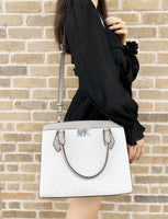 Michael Kors Mott Large Satchel Bright White MK Grey