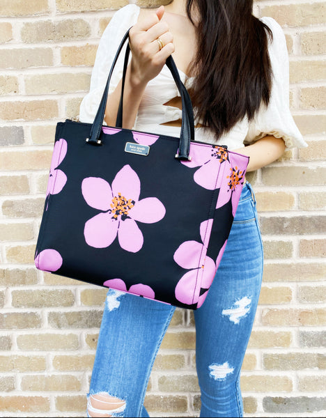 Kate Spade Dawn Grand Flora Medium Satchel Alyse Crossbody Black Pink Floral
