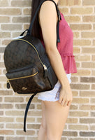 Coach F32200 Medium Charlie Backpack Brown Signature Black - Gaby's Bags