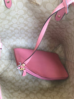 Coach F36658 Reversible City Tote Signature Light Khaki Peony Pink - Gaby's Bags