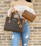Michael Kors Hope Messenger Satchel Brown MK Signature + Luggage Zip Wallet