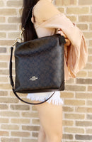 Coach Abby Duffle Signature F31477 Shoulder Bag Brown Signature Black - Gaby's Bags
