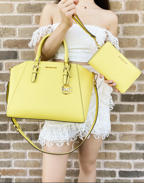 Michael Kors Ciara Large Top Zip Satchel Bag Sunshine Yellow Double Zip Wristlet