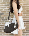 Michael Kors Hope Medium Messenger Small Satchel Brown MK Signature Optic White