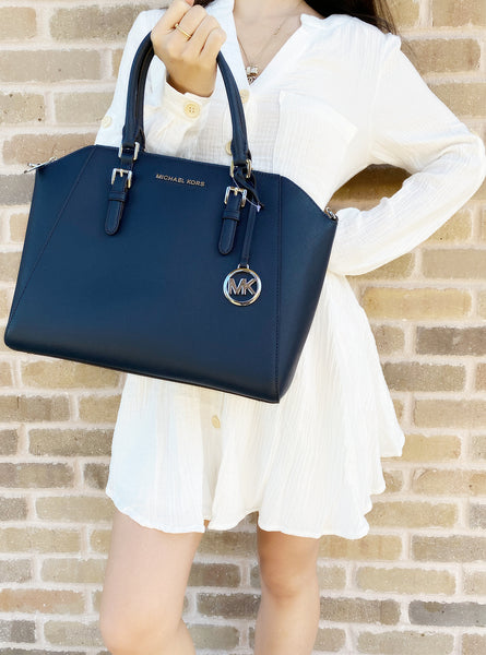 Michael Kors Ciara Large Top Zip Satchel Saffiano Leather Navy 2019 - Gaby's Bags