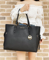 Michael Kors Gilly Large Jet Set Drawstring Top Zip Tote Black Saffiano Leather