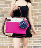 Kate Spade Staci Medium Satchel Pink Multi Colorblock + Snail Coin Wallet Dots