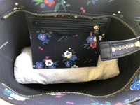 Tory Burch Kerrington Small Top Zip Tote Pansy Bouquet Floral Navy - Gaby's Bags