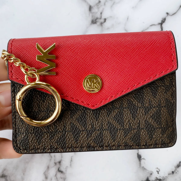 Michael Kors Kala Keychain Card Case Brown MK Signature PVC Leather Flame Red