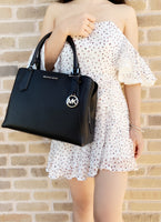 Michael Kors Kimberly Large East West Satchel Black Pebbled Leather - Gaby's Bags