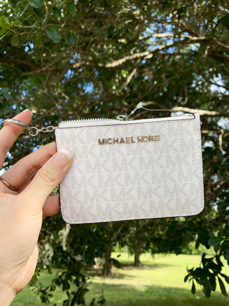 Michael Kors Jet Set Travel Small Top Zip Coin Pouch ID Holder White Gray - Gaby's Bags