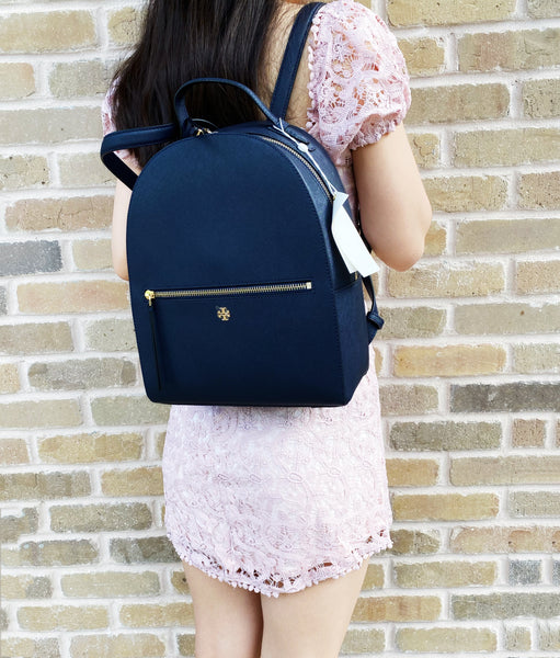 Tory Burch Emerson Medium Backpack Top Zip Saffiano Leather Navy