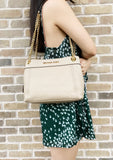 Michael Kors Jet Set Chain Medium Messenger Shoulder Tote Bisque - Gaby's Bags