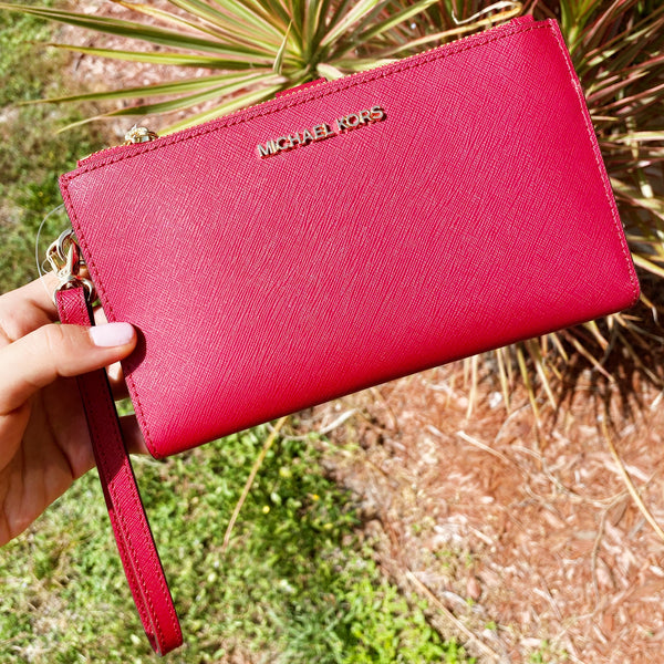 Michael Kors Jet Set Large Double Zip Wristlet Wallet Scarlet Red Saffiano
