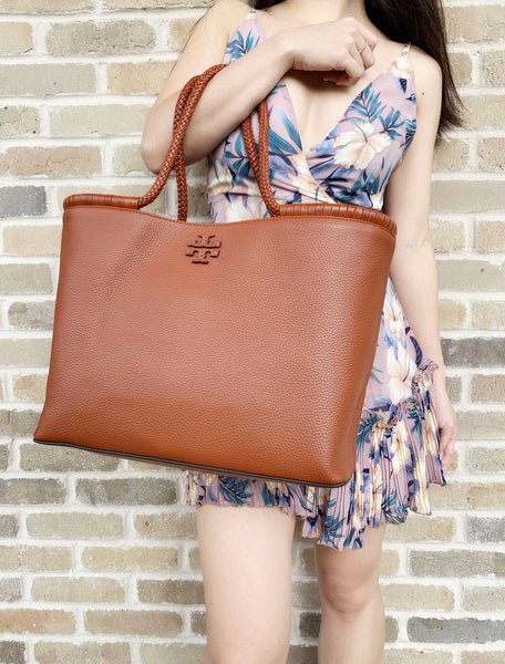 Tory Burch Taylor Tote Large Carryall Shopper Desert Spice Tan Brown