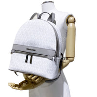 Michael Kors Kenly Medium Backpack Bright White MK Pearl Grey PVC Leather