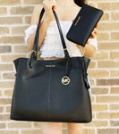 Michael Kors Lenox Large Tote Pebbled Leather Shoulder Bag Black + Wallet